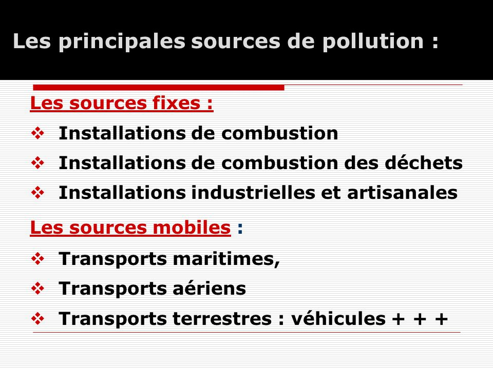 Les principales sources de pollution :