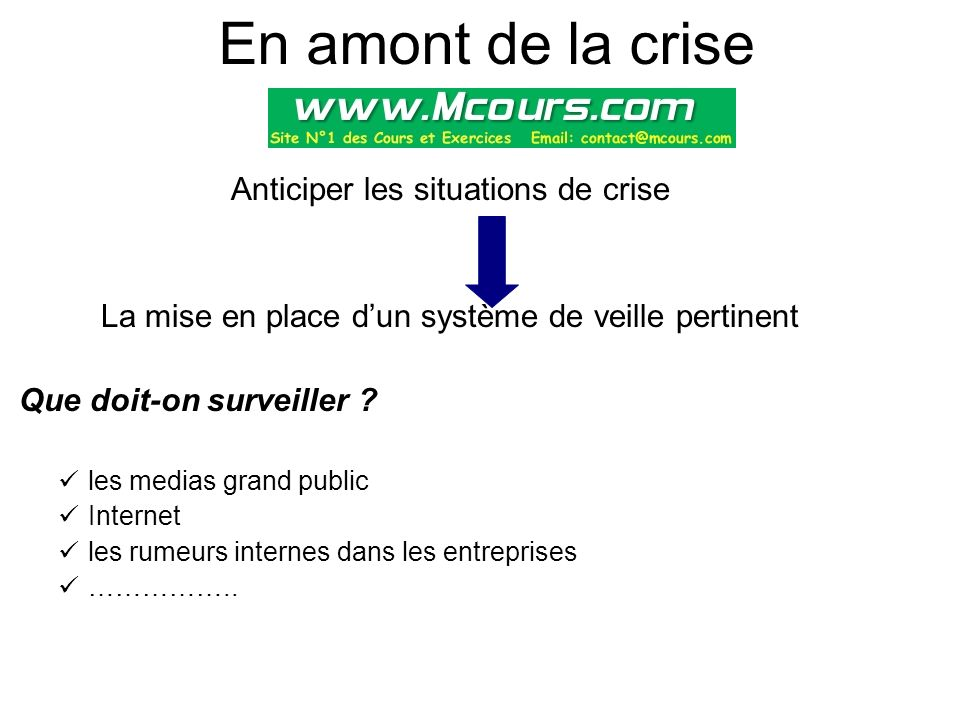 En amont de la crise Anticiper les situations de crise