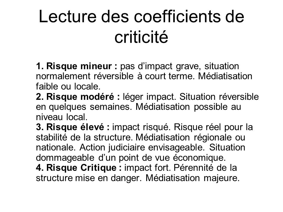 Lecture des coefficients de criticité
