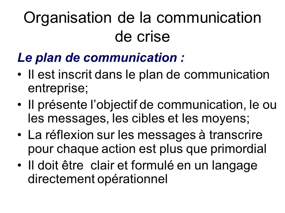 Organisation de la communication de crise