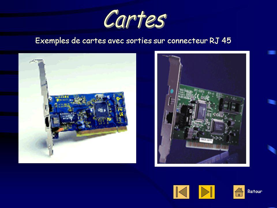 Cartes Exemples de cartes avec sorties sur connecteur RJ 45 Retour