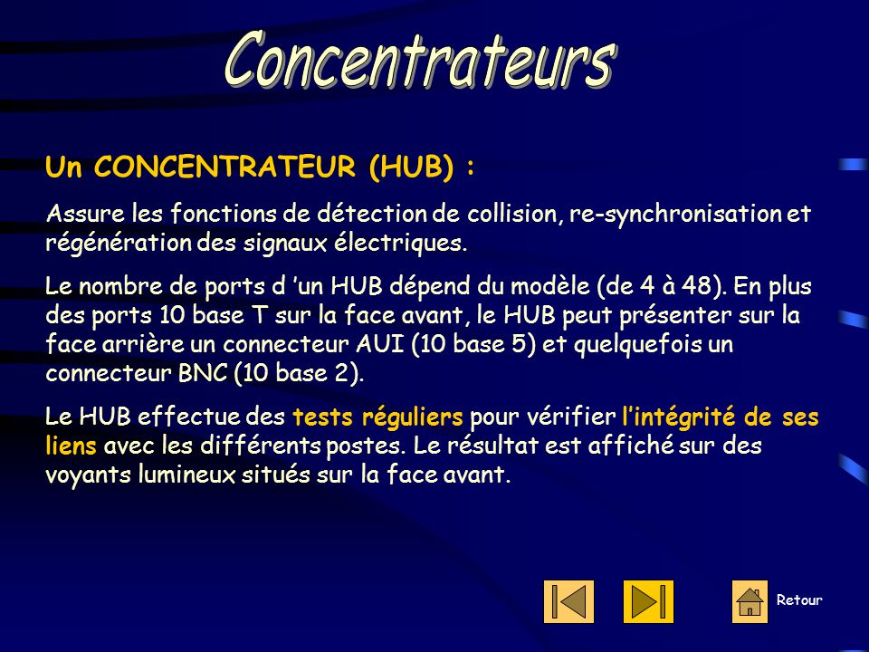 Concentrateurs Un CONCENTRATEUR (HUB) :