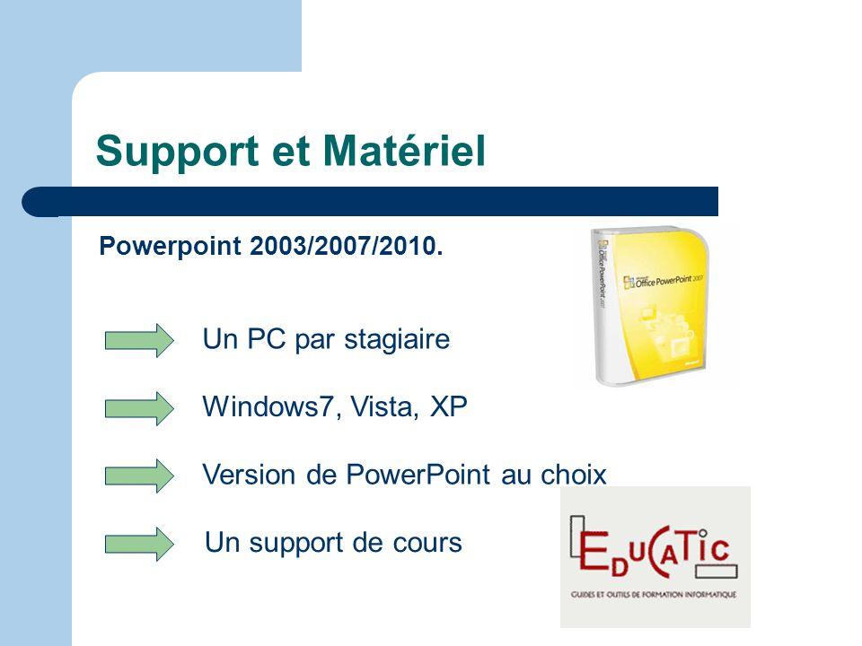 Support et Matériel Un PC par stagiaire Windows7, Vista, XP
