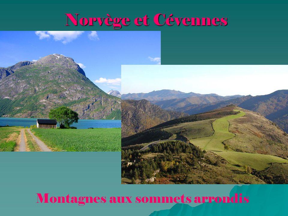 Norvège et Cévennes Montagnes aux sommets arrondis