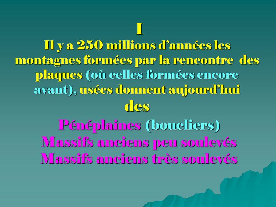 I Il y a 250 millions d'années les montagnes formées par la rencontre des plaques (où celles formées encore avant), usées donnent aujourd'hui des Pénéplaines (boucliers) Massifs anciens peu soulevés Massifs anciens très soulevés