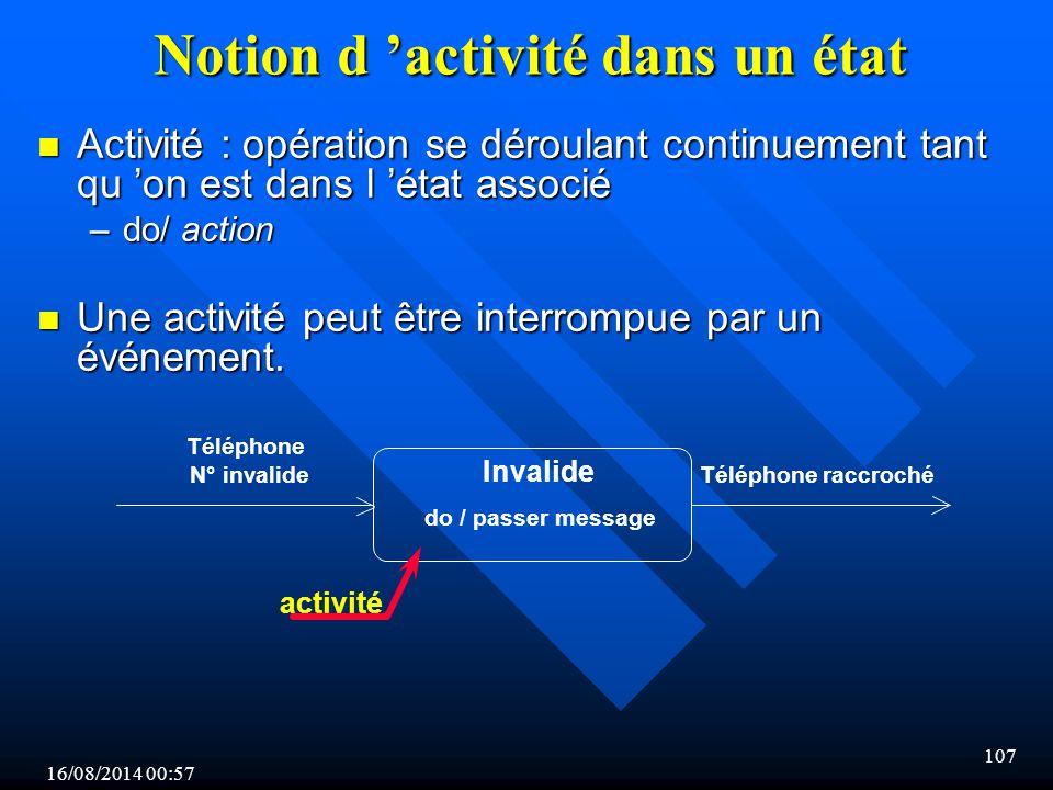 Notion d 'activité dans un état