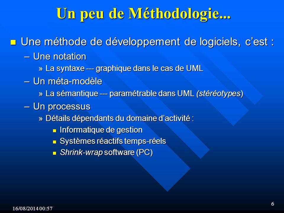 Un peu de Méthodologie... Une méthode de développement de logiciels, c'est : Une notation. La syntaxe --- graphique dans le cas de UML.