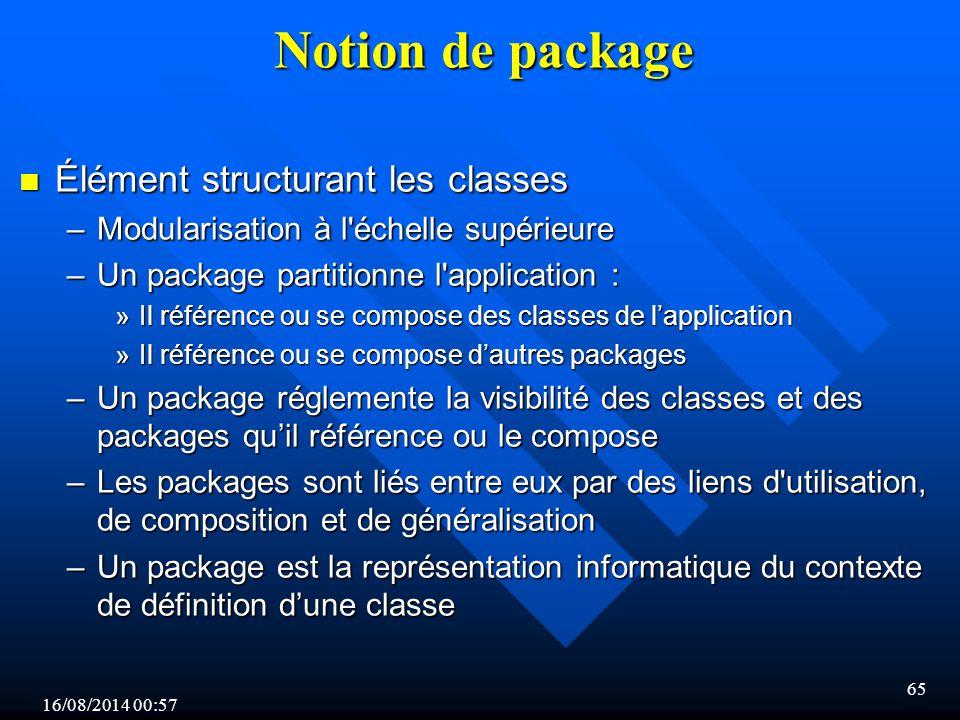 Notion de package Élément structurant les classes