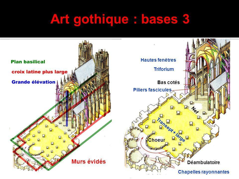 Art gothique : bases 3 Transept + large Murs évidés Hautes fenêtres