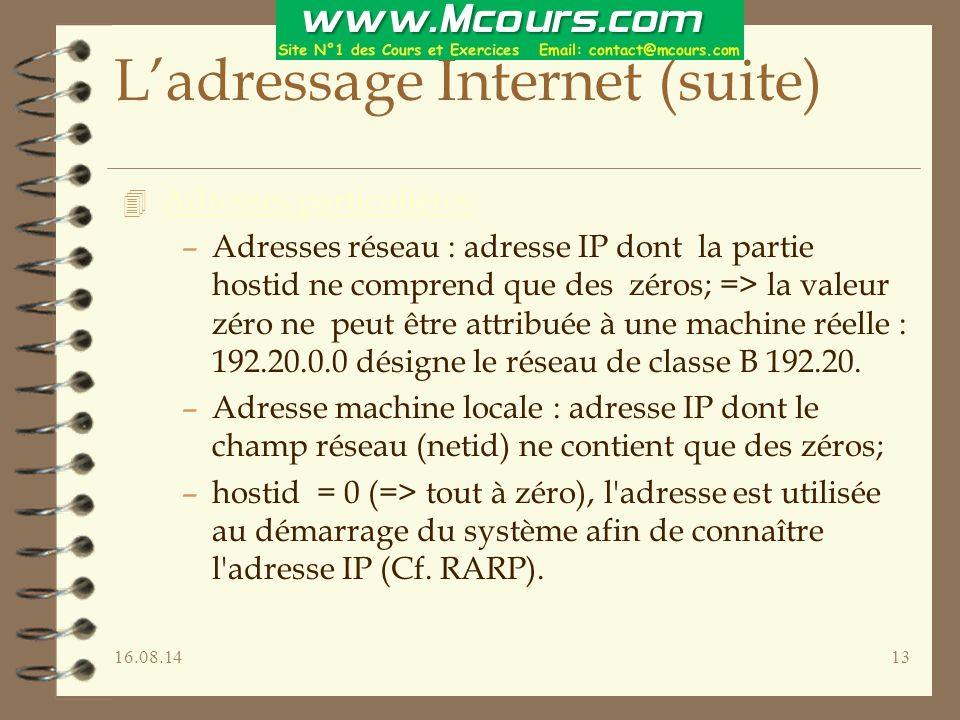 L'adressage Internet (suite)