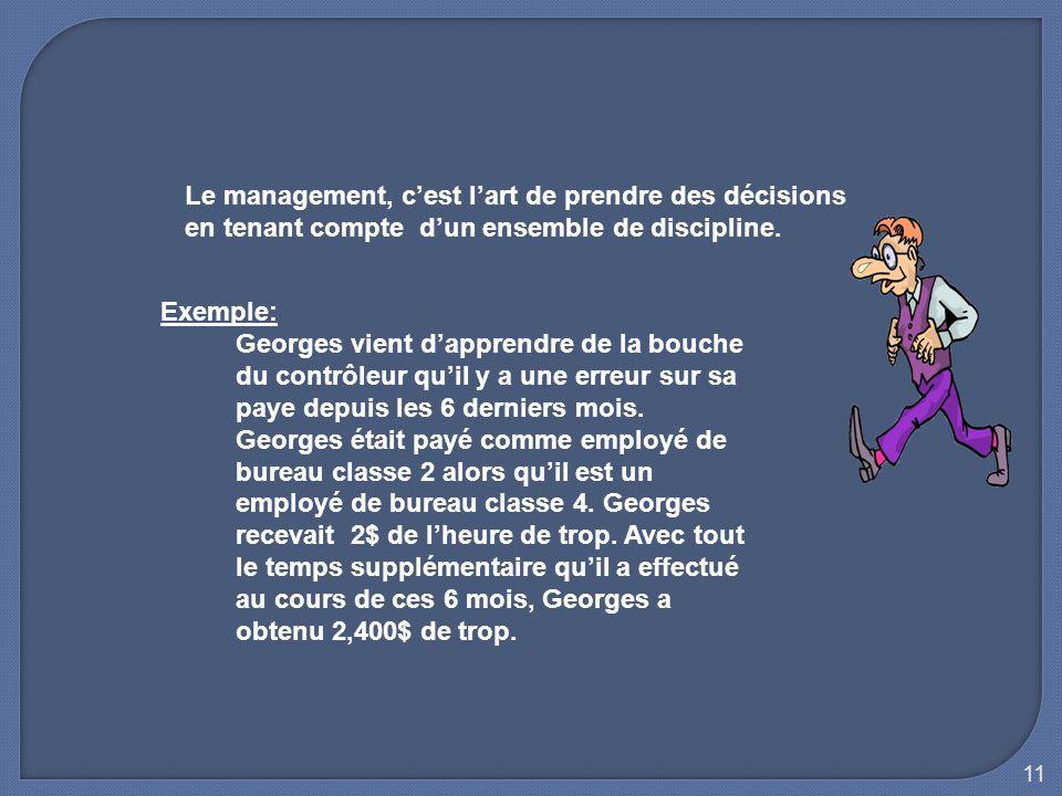 Le management, c'est l'art de prendre des décisions en tenant compte d'un ensemble de discipline.