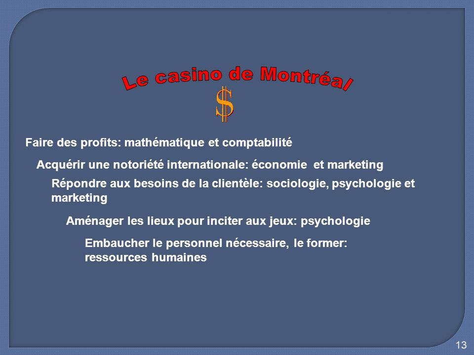 Le casino de Montréal Faire des profits: mathématique et comptabilité