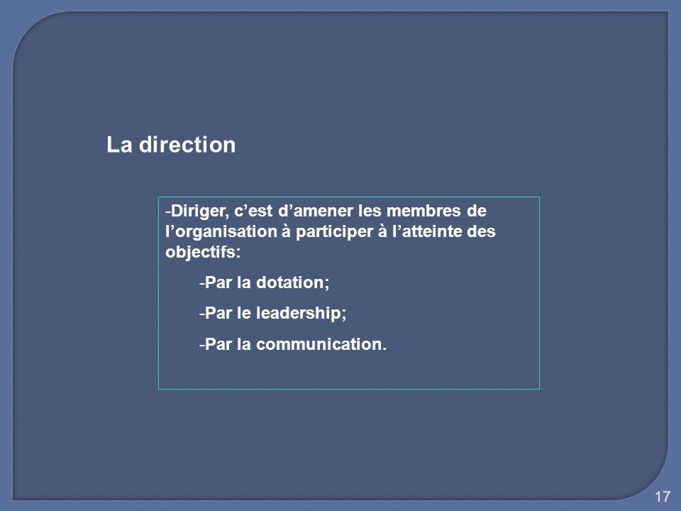 La direction Diriger, c'est d'amener les membres de l'organisation à participer à l'atteinte des objectifs: