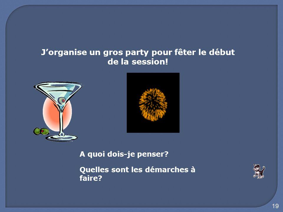 J'organise un gros party pour fêter le début de la session!