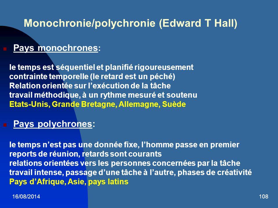 Monochronie/polychronie (Edward T Hall)
