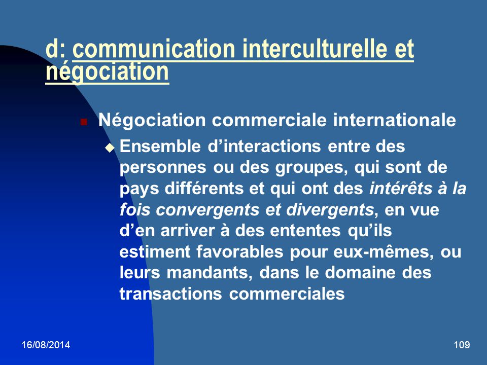 d: communication interculturelle et négociation