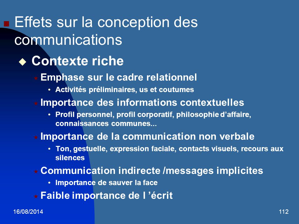 Effets sur la conception des communications