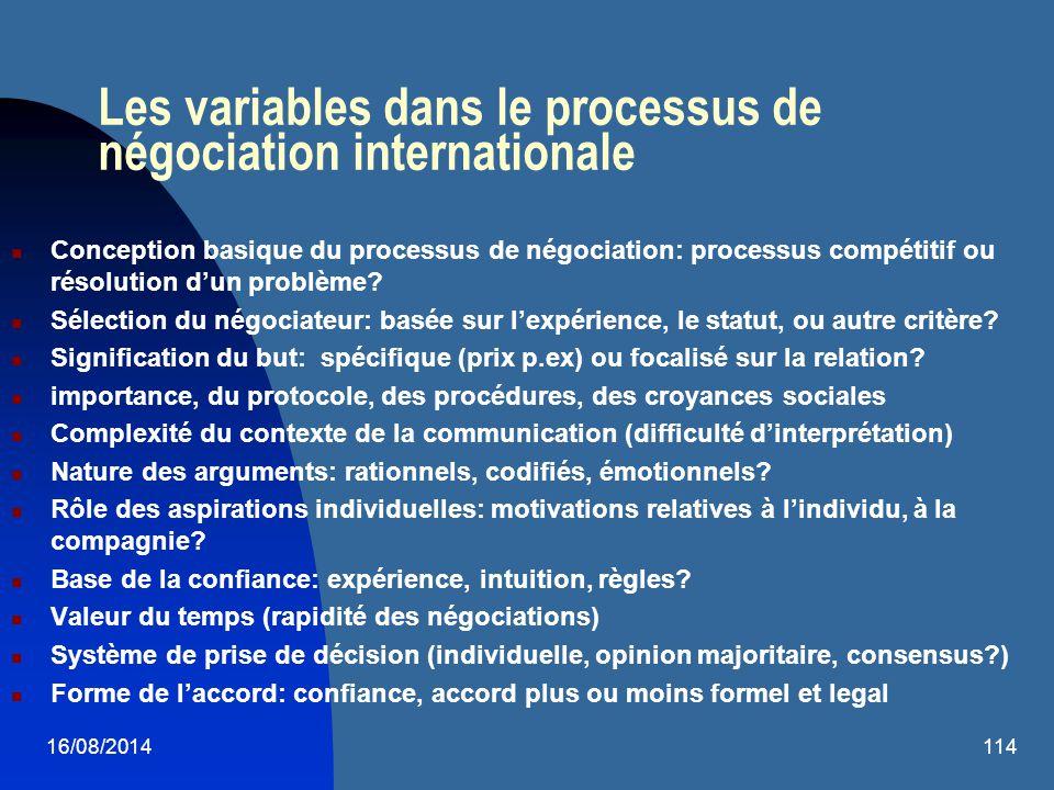 Les variables dans le processus de négociation internationale