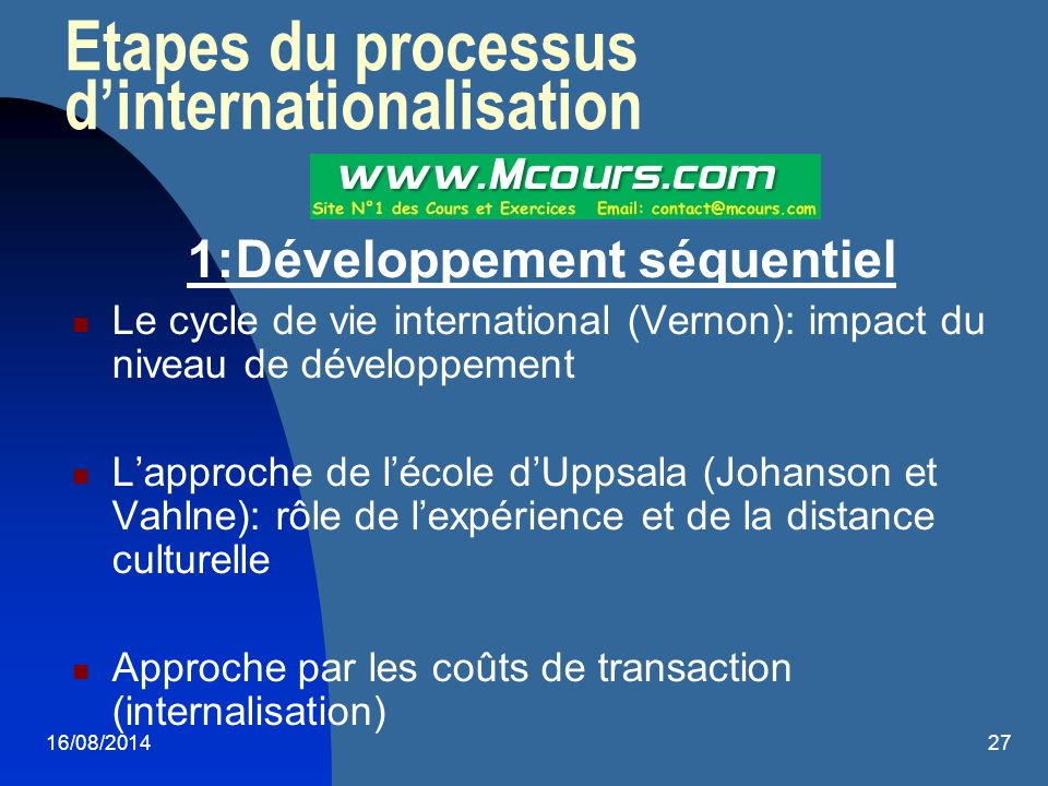 Etapes du processus d'internationalisation