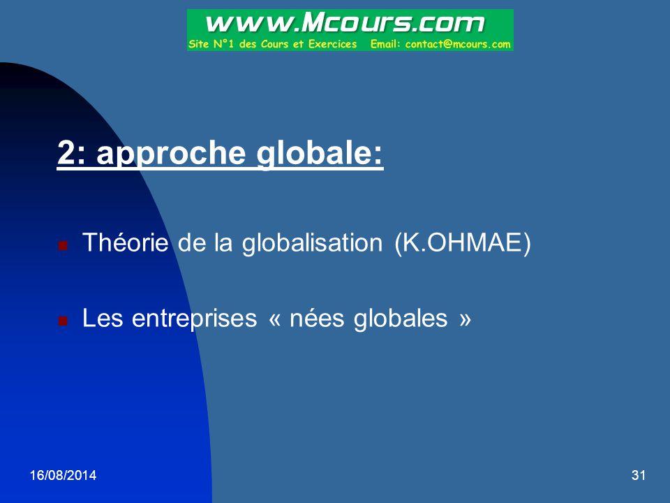 2: approche globale: Théorie de la globalisation (K.OHMAE)