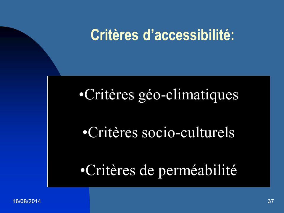 Critères d'accessibilité: