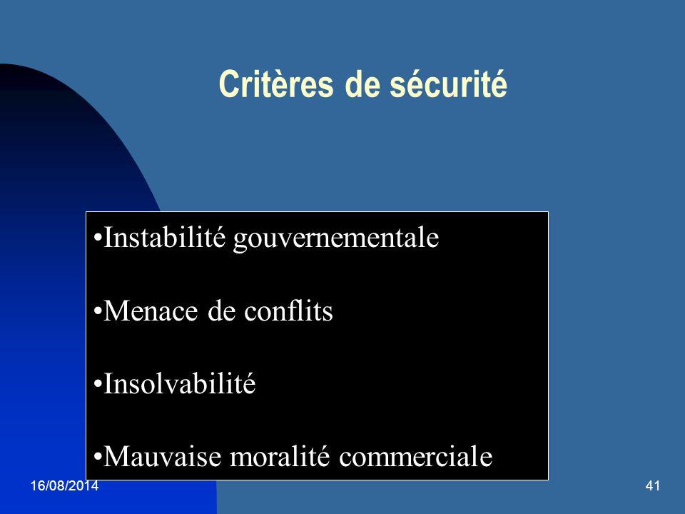 Critères de sécurité Instabilité gouvernementale Menace de conflits