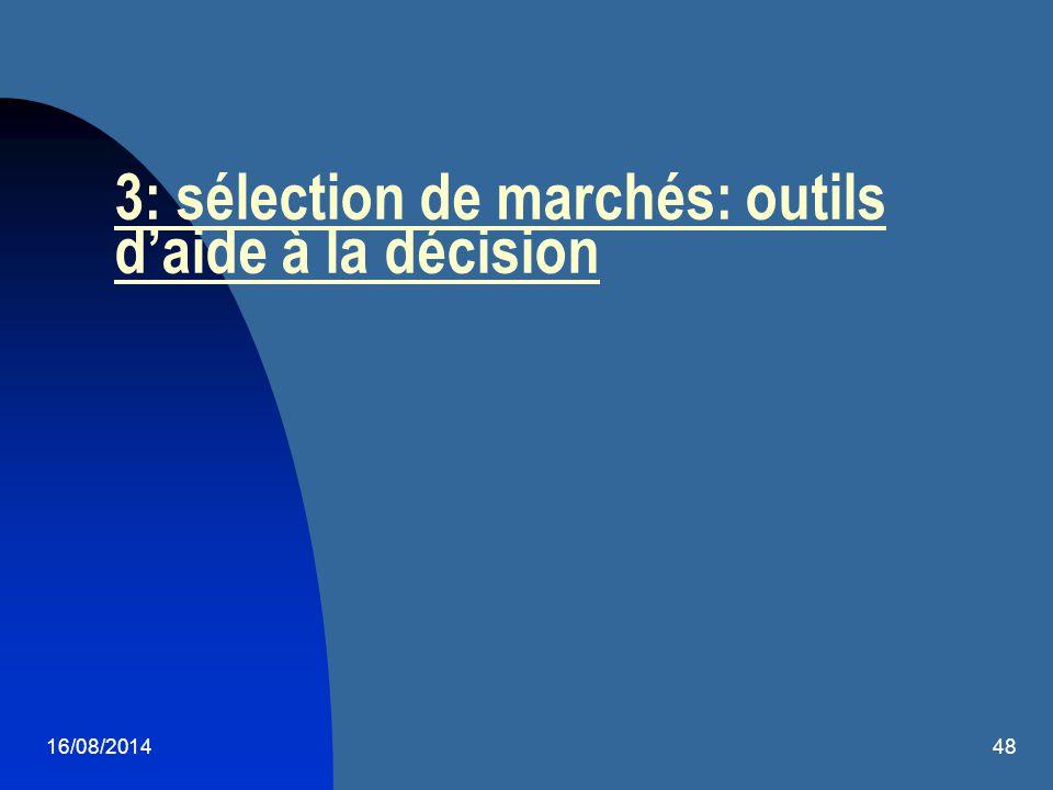 3: sélection de marchés: outils d'aide à la décision