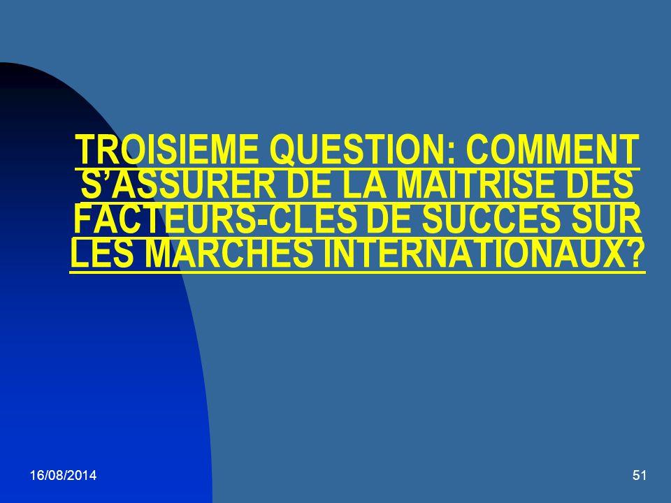 TROISIEME QUESTION: COMMENT S'ASSURER DE LA MAITRISE DES FACTEURS-CLES DE SUCCES SUR LES MARCHES INTERNATIONAUX