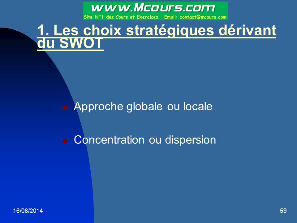 1. Les choix stratégiques dérivant du SWOT