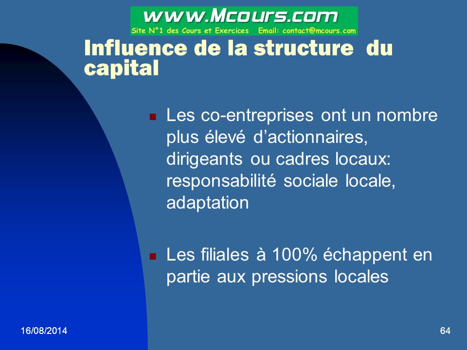 Influence de la structure du capital