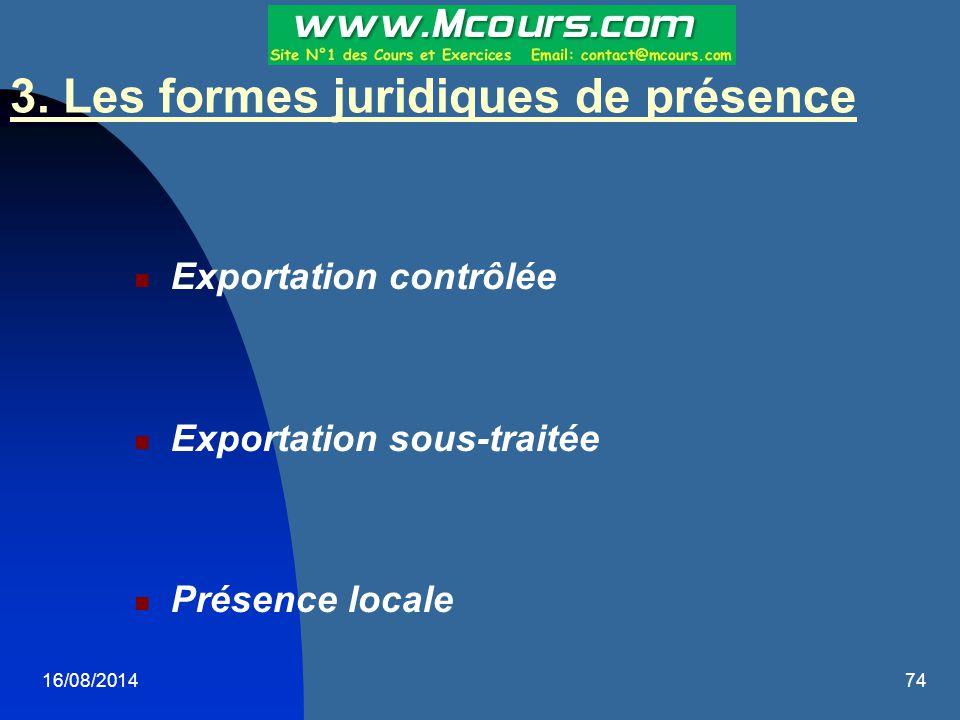 3. Les formes juridiques de présence