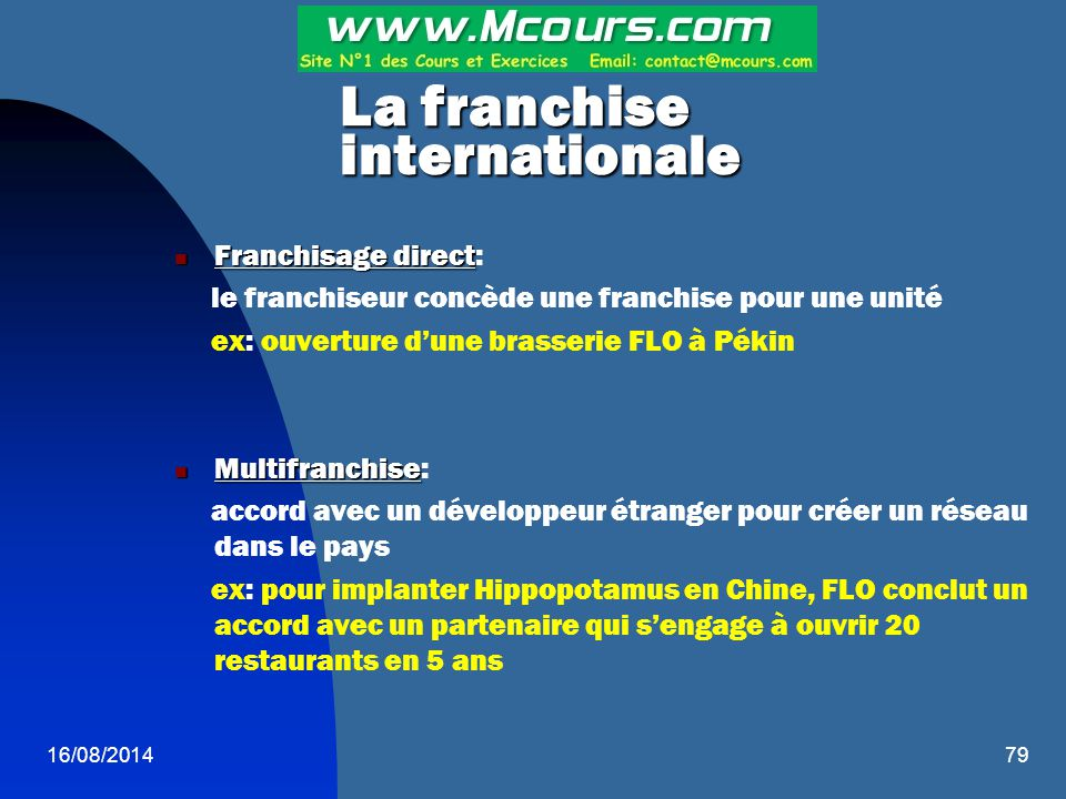 La franchise internationale