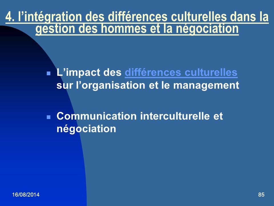 4. l'intégration des différences culturelles dans la gestion des hommes et la négociation