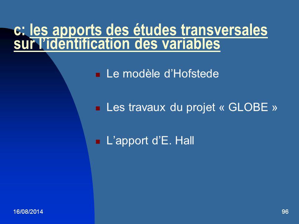 c: les apports des études transversales sur l'identification des variables