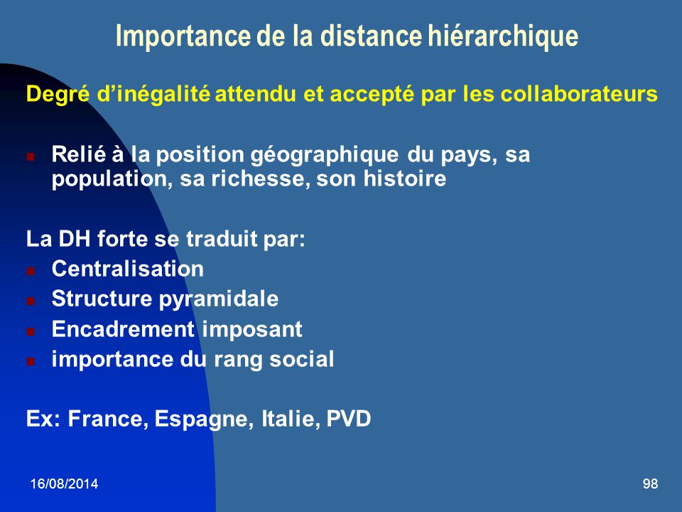 Importance de la distance hiérarchique