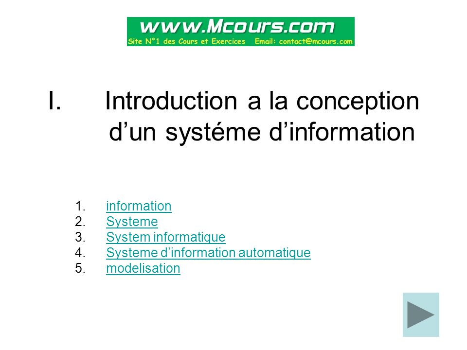 Introduction a la conception d'un systéme d'information