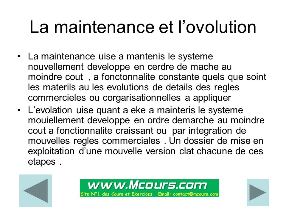 La maintenance et l'ovolution