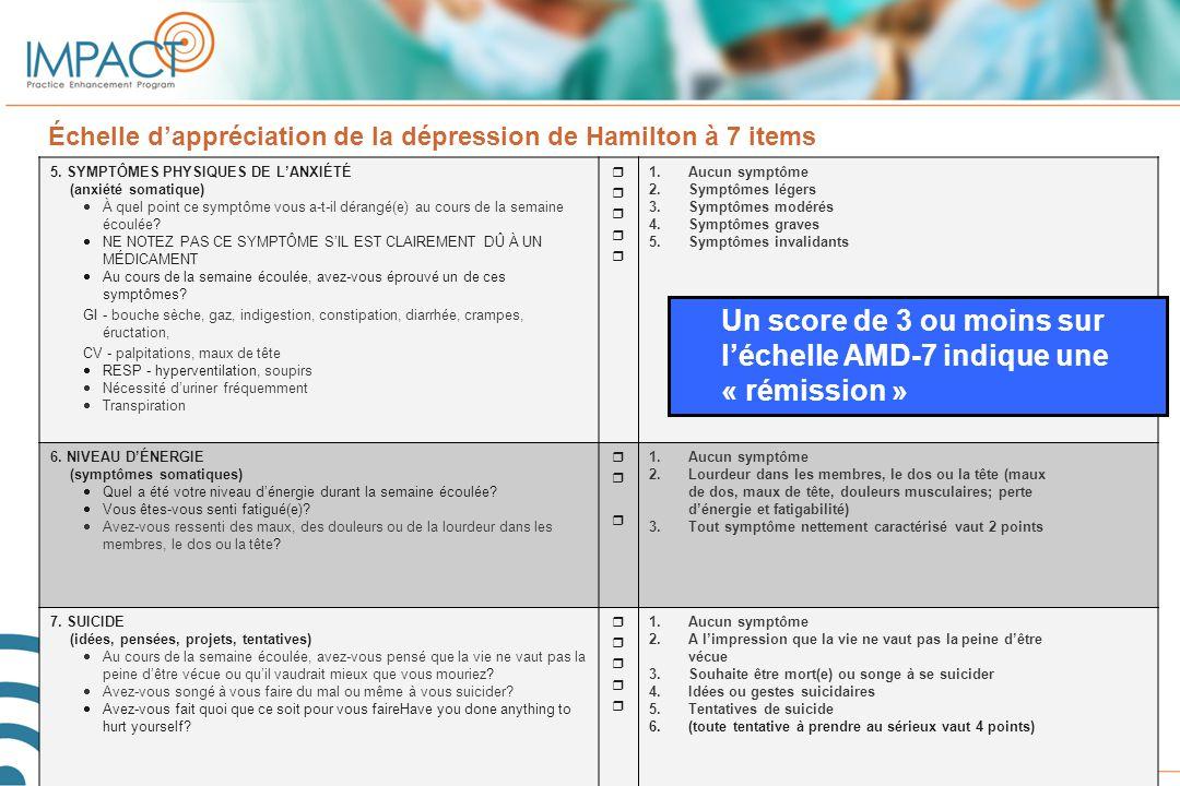 Un score de 3 ou moins sur l'échelle AMD-7 indique une « rémission »
