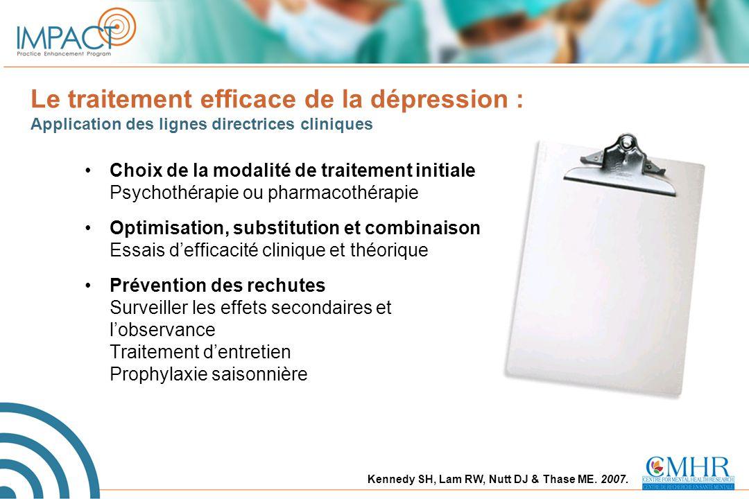 Le traitement efficace de la dépression : Application des lignes directrices cliniques