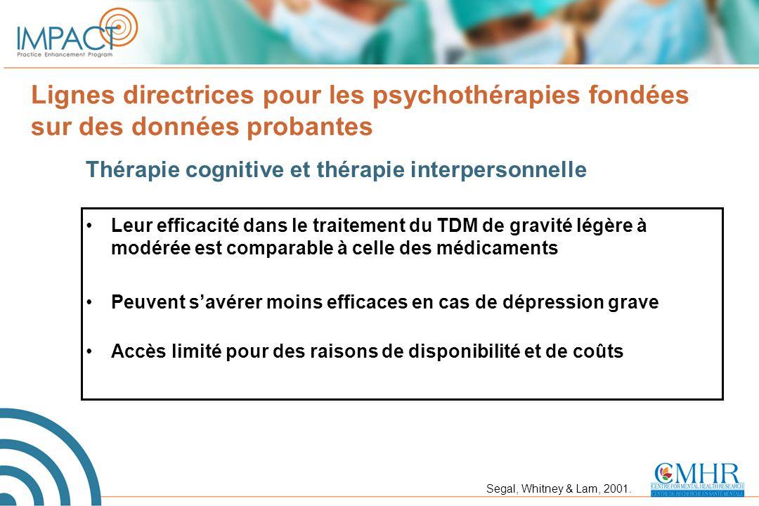 Lignes directrices pour les psychothérapies fondées sur des données probantes