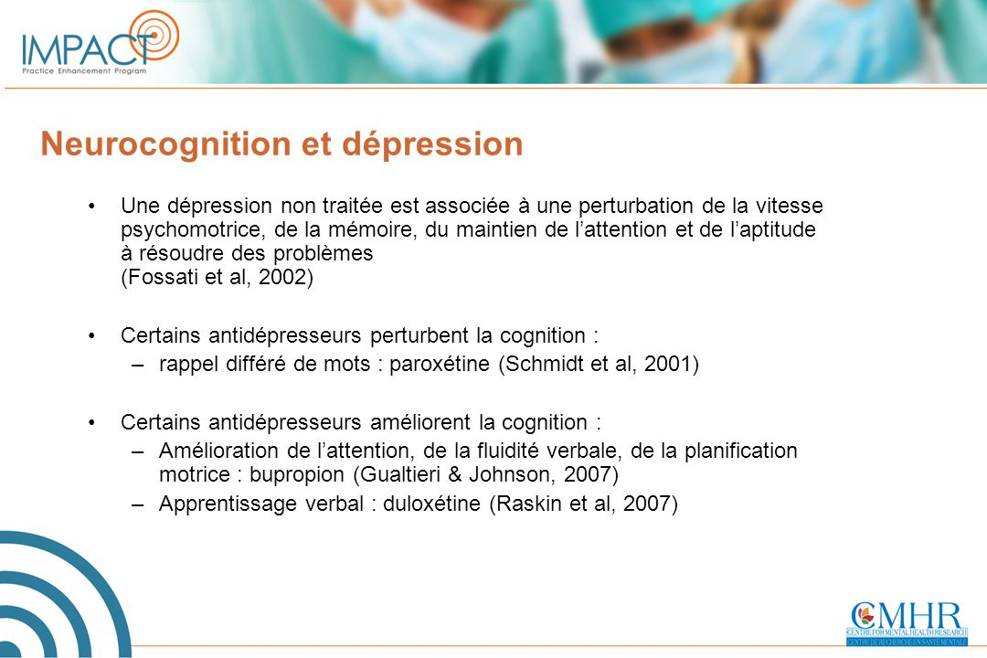 Neurocognition et dépression