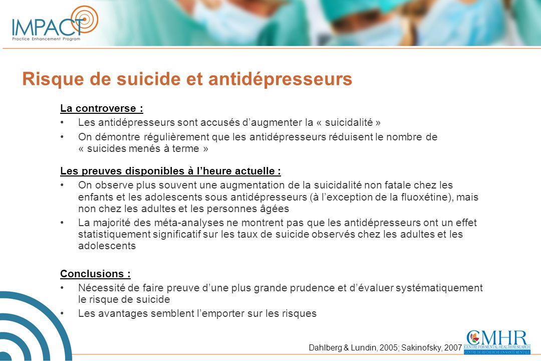 Risque de suicide et antidépresseurs