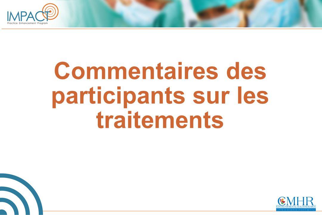 Commentaires des participants sur les traitements