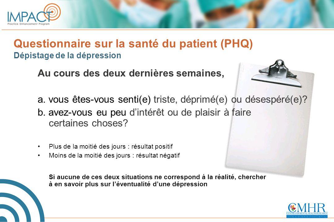 Questionnaire sur la santé du patient (PHQ) Dépistage de la dépression