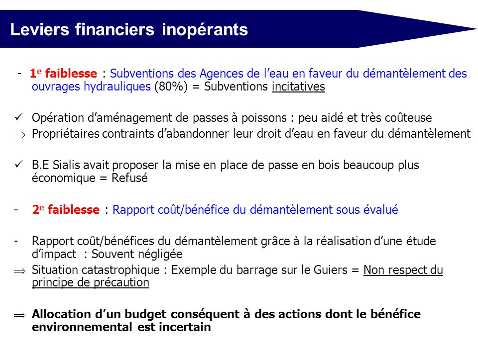 Leviers financiers inopérants