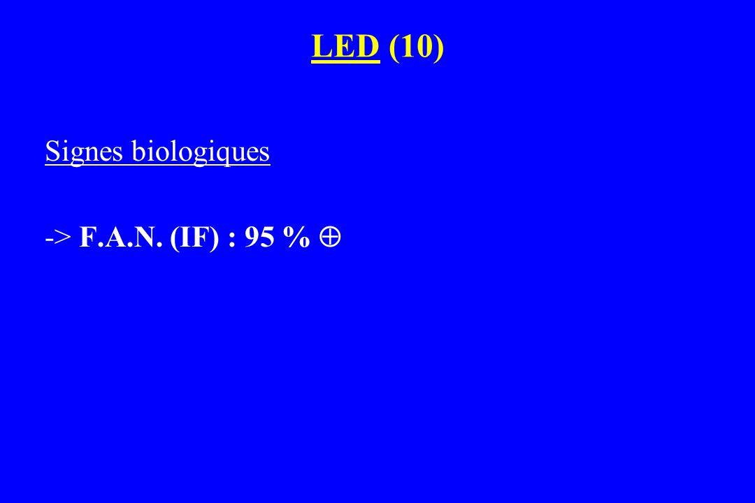 Signes biologiques -> F.A.N. (IF) : 95 % 