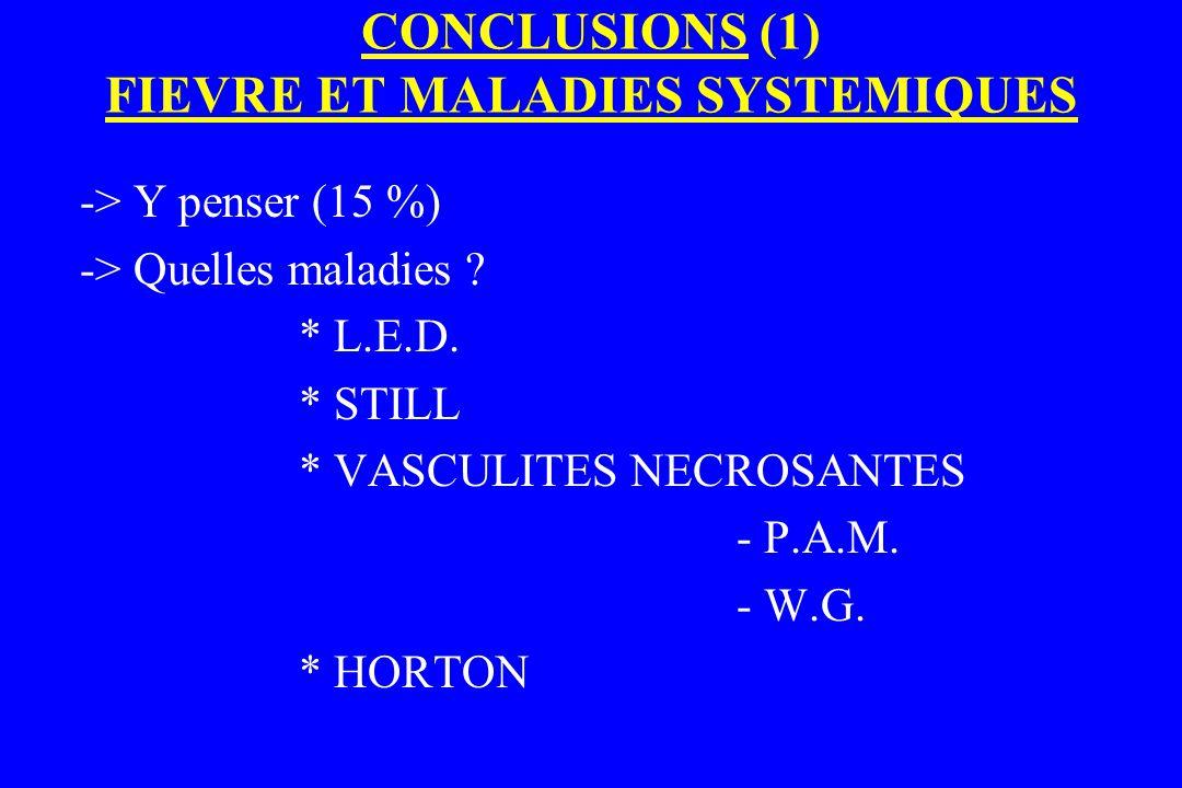 CONCLUSIONS (1) FIEVRE ET MALADIES SYSTEMIQUES
