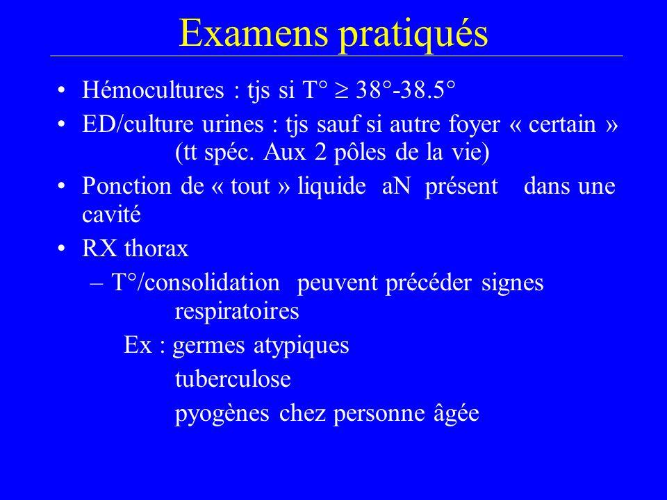 Examens pratiqués Hémocultures : tjs si T°  38°-38.5°