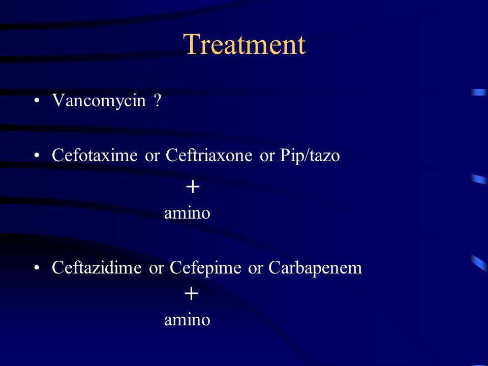 Treatment Vancomycin Cefotaxime or Ceftriaxone or Pip/tazo + amino