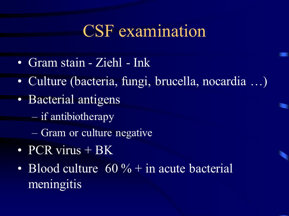 CSF examination Gram stain - Ziehl - Ink